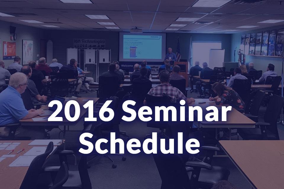 2016 Pump Training Seminar Schedule