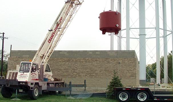 Water Treatment Tank Installation at Job Site