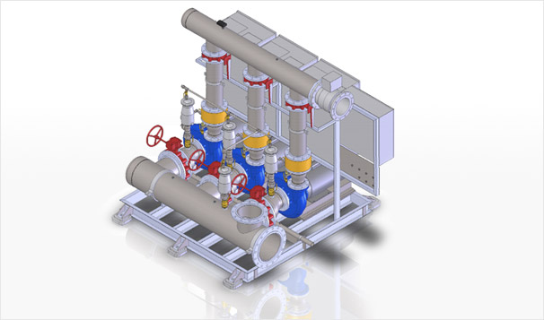 Commercial Building Hydronic System Condenser Water Pump Skid 3D View