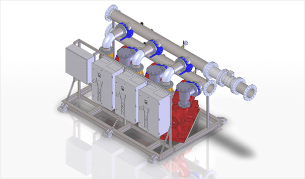 Commercial Building Hyronic System Dual Temp Pump Skid 3D View