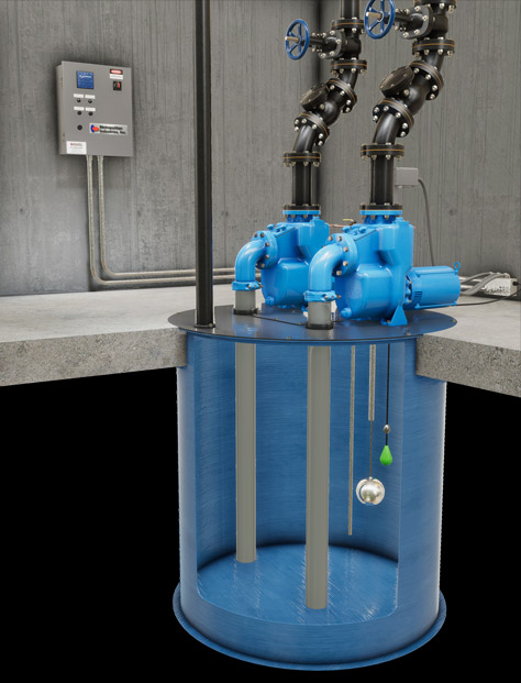 Pump Controller Installation Rendering with Mechanical Alternator