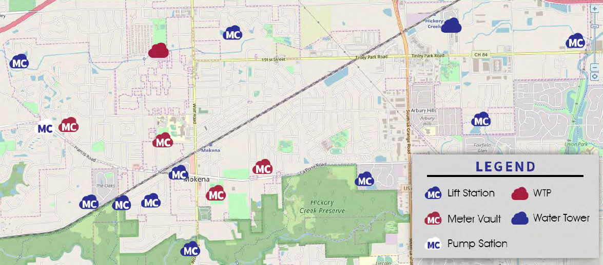 Map Overview of MetroCloud Sites in Mokena, IL